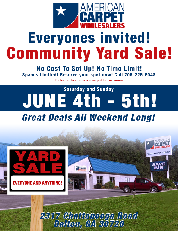 Community Yard Sale! No Cost to set up! No Time Limit! Spaces limited! Reserve your spot now! Call 706-266-6048