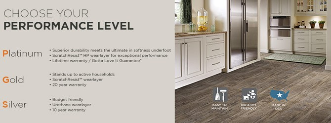 Mannington Luxury Vinyl Sheet Flooring Offers Three Performance Levels;  Platinum, Gold And Silver.