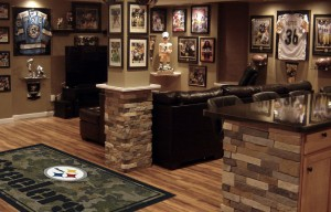 Pittsburgh Steelers Man Cave with Milliken NFL Team Camo Rug
